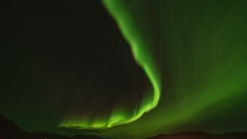 Timelapse of Massive Aurora Borealis (Northern Lights) during Solar Storm of KP6 in Iceland. 4K UHD.