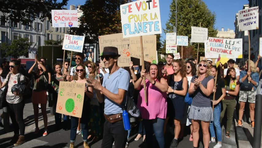 Marseille, France - October 13, 2018 : Demonstration to protect the climate and biodiversity