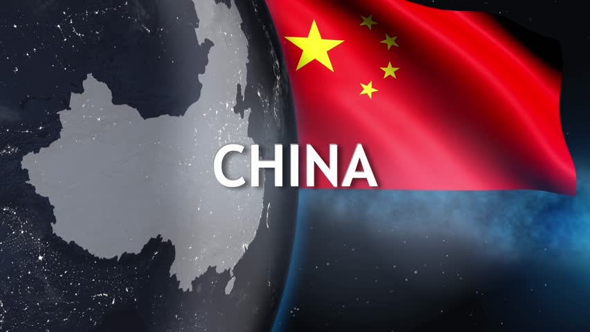 World planet country China Chinese flag 3D 4K