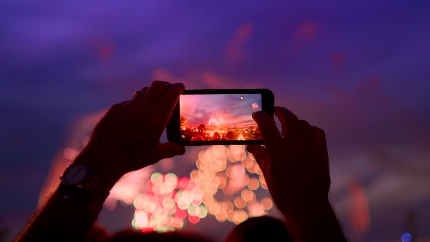Fireworks Mobile Phone Holiday Celebration Background, Smartphone Firework Hand