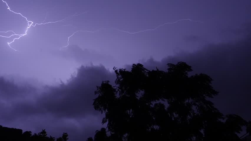 Lightning on the horizon slow motion