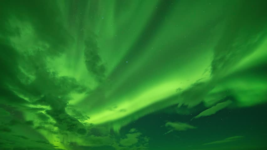 Scenic Time Lapse of Aurora Borealis (Northern Lights) in Iceland during Solar Storm of KP6.