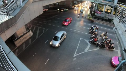 Bangkok,Thailand 4K hyper lapse footage street traffic in city