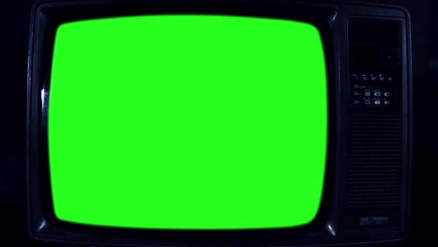 Old Television with Green Screen. Dark Night Tone. Ready to Replace  | Shutterstock HD Video #1017941497