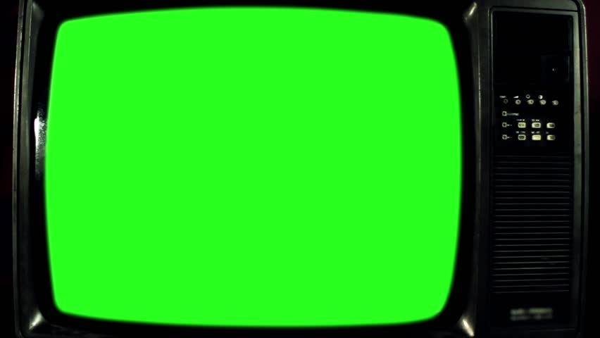 Old Television with Green Screen. Iron Tone. Ready to Replace Green   | Shutterstock HD Video #1017941584