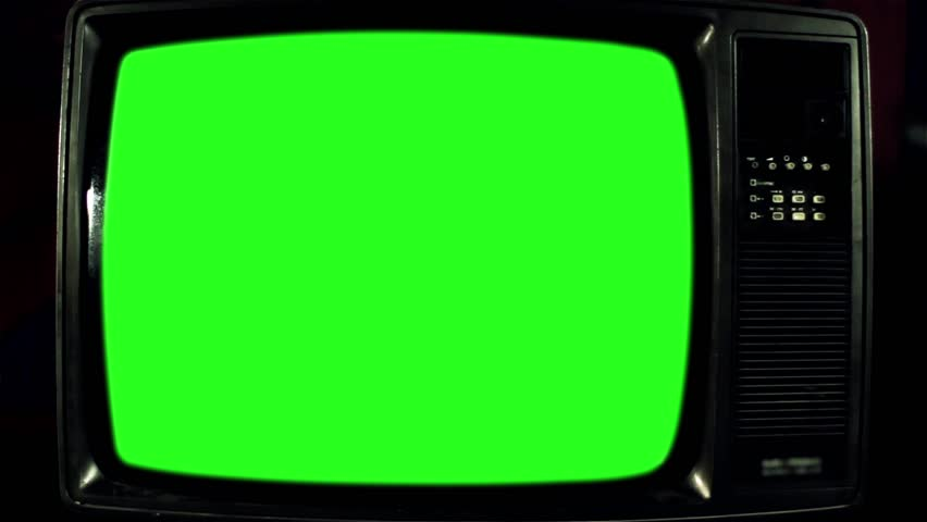 Old Television with Green Screen. Iron Tone. Ready to Replace Green   | Shutterstock HD Video #1017941587