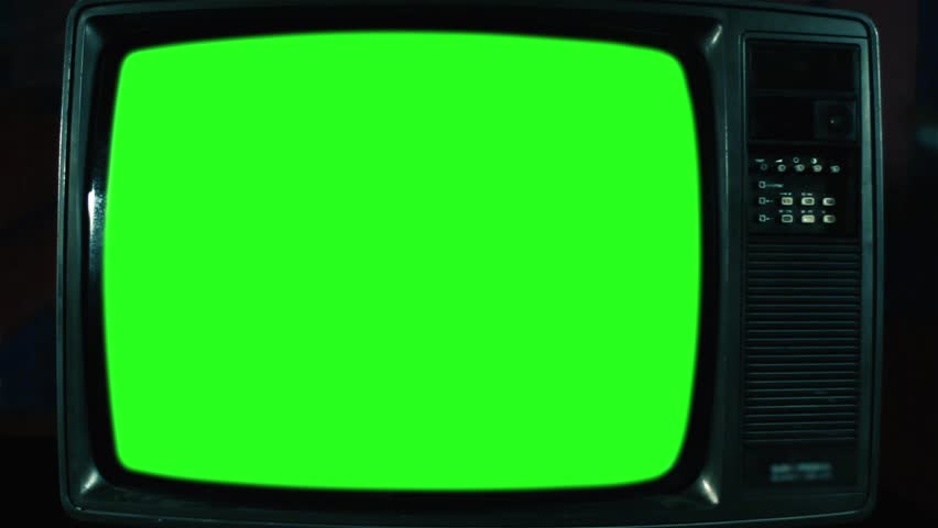 Old Television with Green Screen. Green Dark Tone. Ready to Replace   | Shutterstock HD Video #1017941632