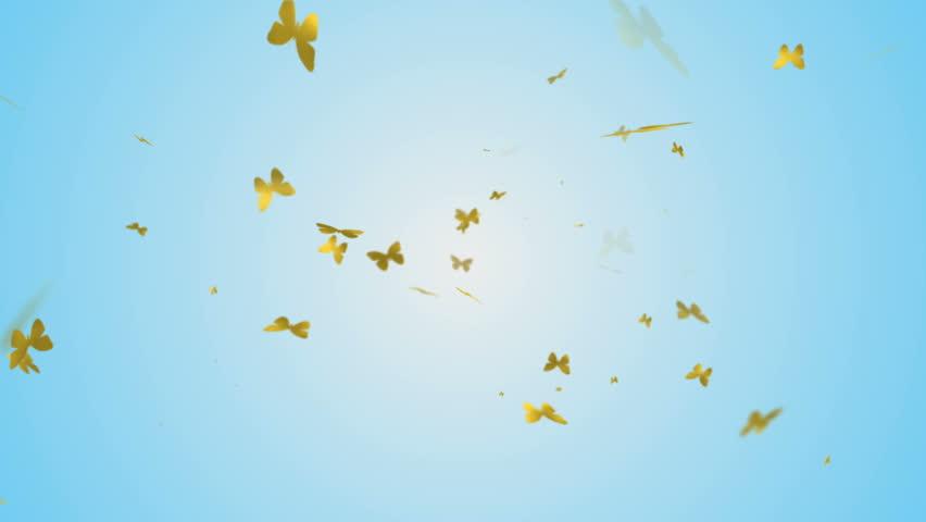 Seamless background loop featuring golden butterflies falling from the sky | Shutterstock HD Video #1017965542
