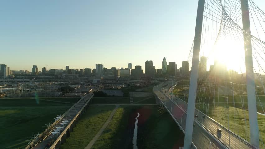 Dallas Skyline Sunrise Aerial Margaret Hunt Hill Bridge