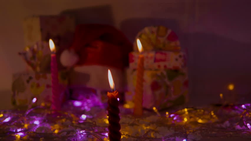 Christmas party with candle and gift footage | Shutterstock HD Video #1017976843