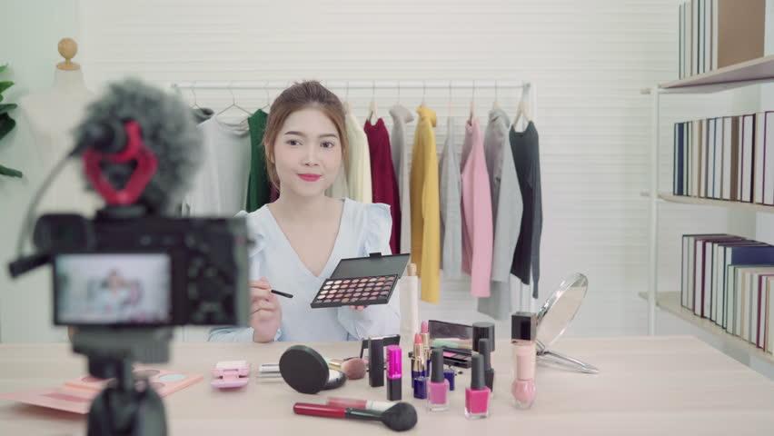 Beauty Blogger Present Beauty Cosmetics Stock Footage Video (100 ...