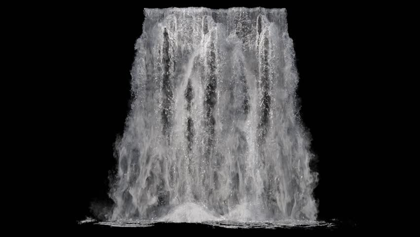 Waterfall texture seamless loop, 4k, isolated on black with alpha and separate foam layer | Shutterstock HD Video #1018010011