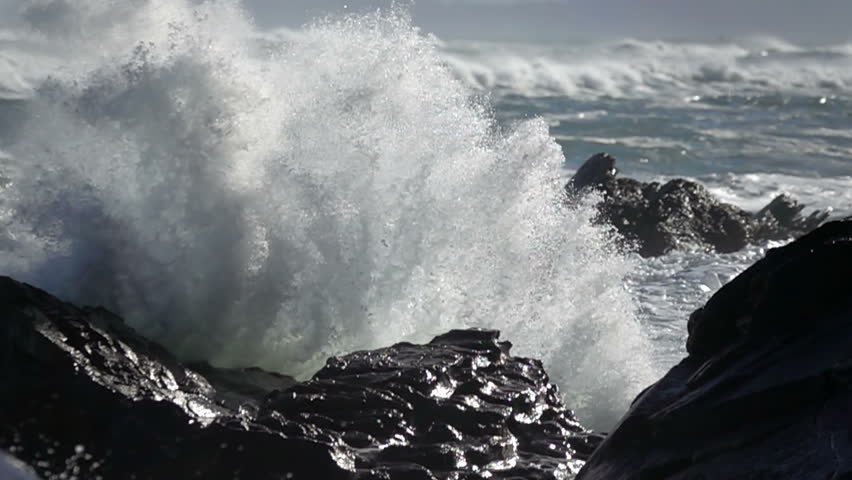 Extreme Wave crushing coast , Large Ocean Beautiful Wave, Awesome power of waves breaking over dangerous rocks  #1018012654