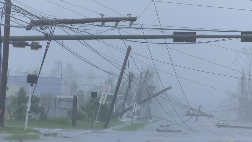 Panama City, FL/US - October 10, 2018 [Hurricane Michael making landfall in Panama City, Florida. Extreme winds, storm surge and severe aftermath   hurricane damage from a category 4 storm.]