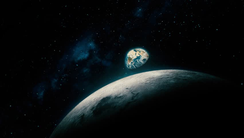 Space View From Earth To Moon, Reveal Shot. Beautiful, cinematic 3D animation of Mother Earth and the Moon, with part of the galactic center in the background. Royalty-Free Stock Footage #1018036627