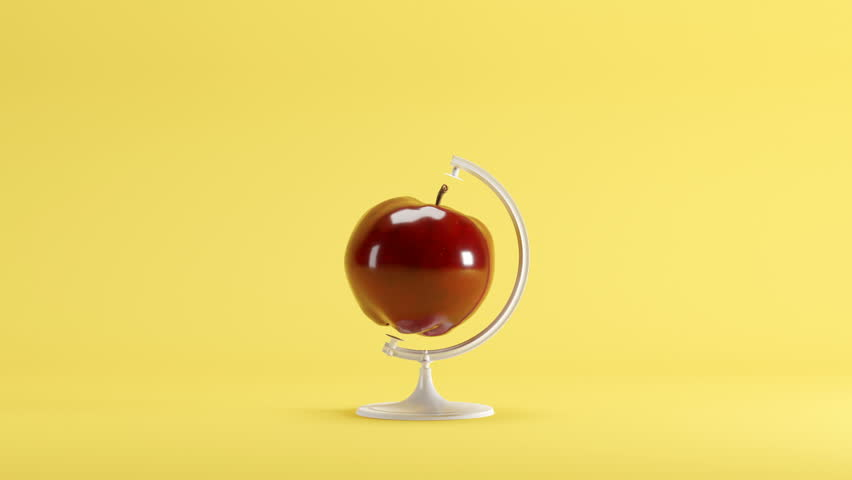 Red apple turn around Mimicry minimal idea concept on yellow background. 3D Animation | Shutterstock HD Video #1018039753