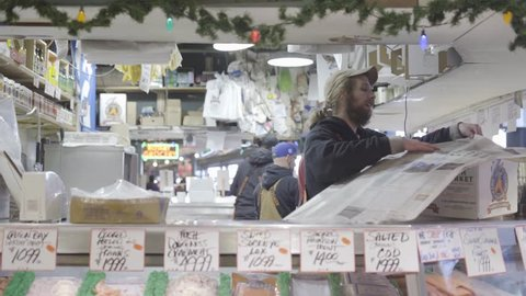 Seattle, Washington / United States - 12 11 2017: Packing Box of Fish in Pike Place Market