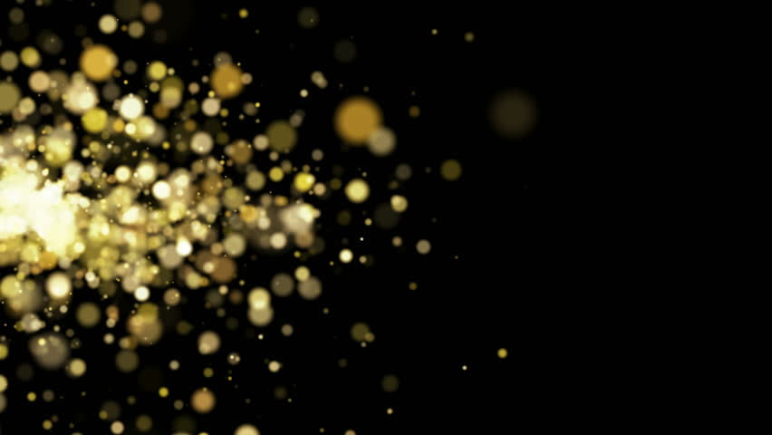 Gold particles sparkles flying on black background. Holidays abstract animation. | Shutterstock HD Video #1018074754