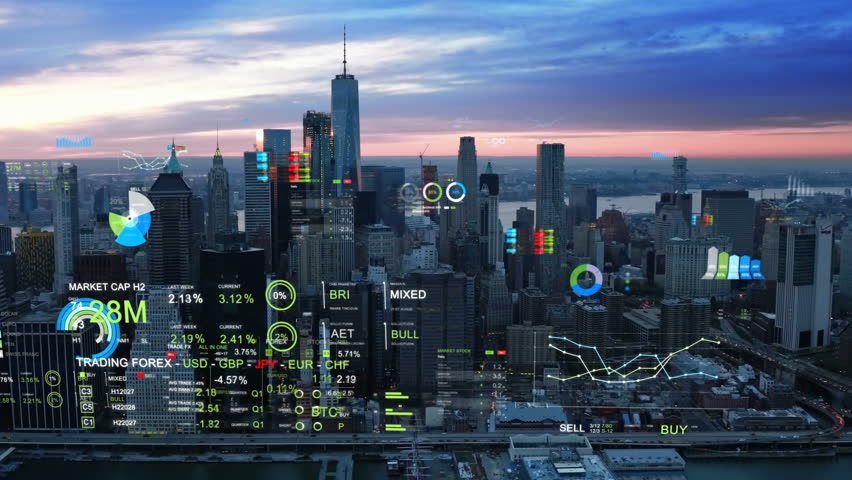 Aerial view of New York with financial charts and data. Futuristic city skyline. Big data, Artificial intelligence, Internet of things. Stock exchange figures.