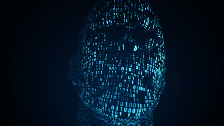 Abstract background with animation human head with surface from flickering binary digits of code. Animation of seamless loop.    Shutterstock HD Video #1018084981
