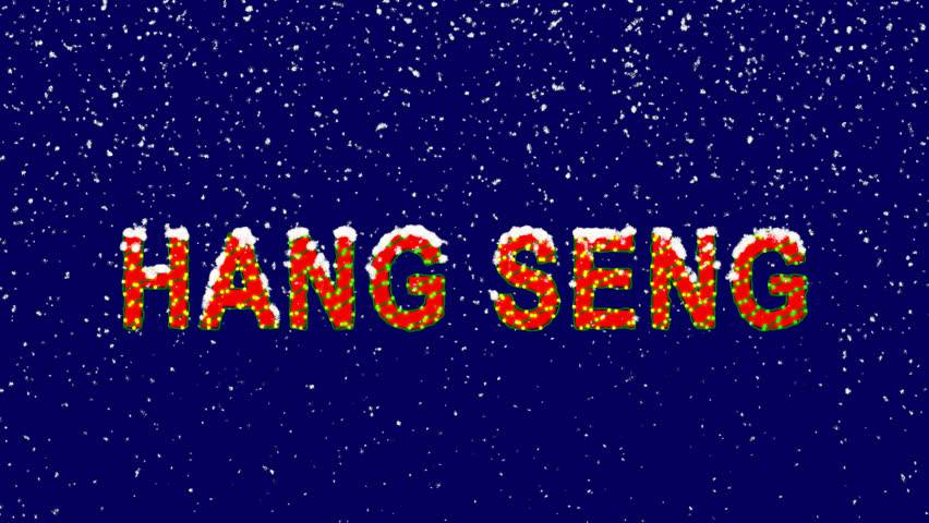 New Year text World stock index HANG SENG. Snow falls. Christmas mood, looped video. Alpha channel Premultiplied - Matted with deep blue RGB(04:00:5B)