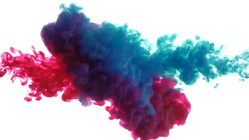 Blue and red ink mixing in water on white background, Slow motion  | Shutterstock HD Video #1018109017
