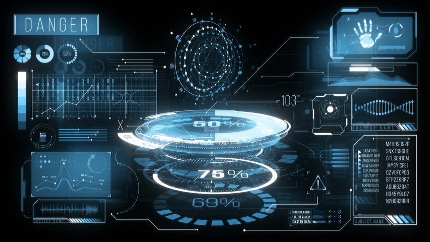 Digital Analysing and Loading Data HUD Display. Includes futuristic high tech animated HUD elements: loading, analysing data, rotating circles, moving graphs, sliders, changing text information. 4K Royalty-Free Stock Footage #1018122910