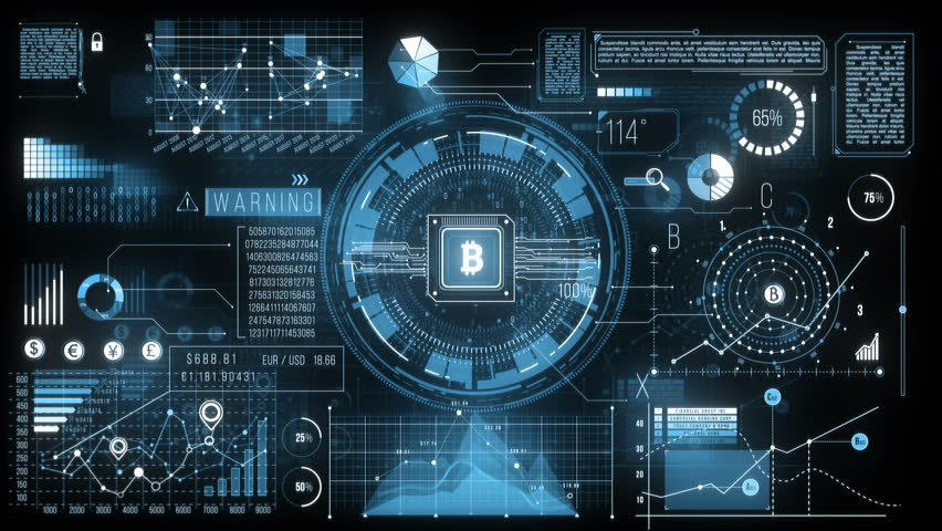 HUD Finance Display. Futuristic screen with animated digital graphs, bitcoin sign, charts, computer data and more. Great video to use in any economy, financial, technology or futuristic themed project Royalty-Free Stock Footage #1018122916