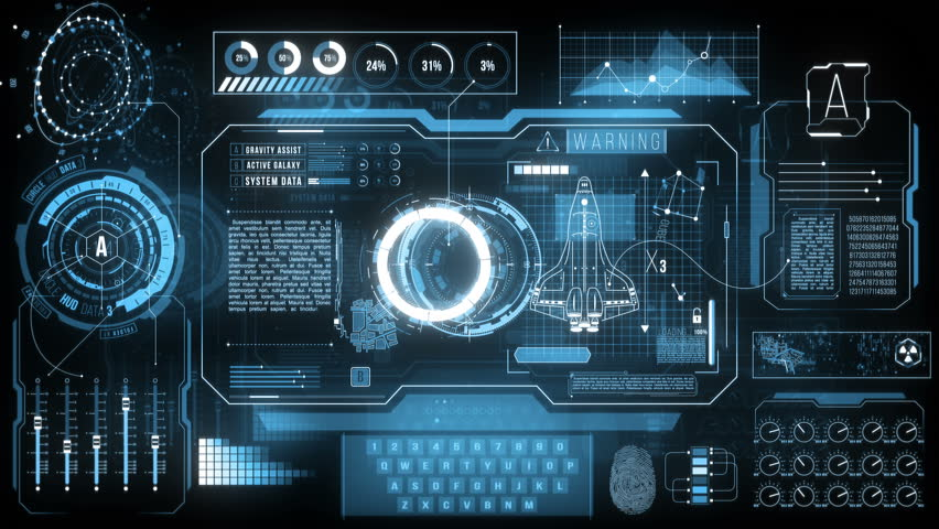Spaceship HUD Display Data, 4K. Infographic high tech screen with nicely animated futuristic hud elements (sliders, bars, loads, data, indicators, graphs, texts codes and more) Royalty-Free Stock Footage #1018122919