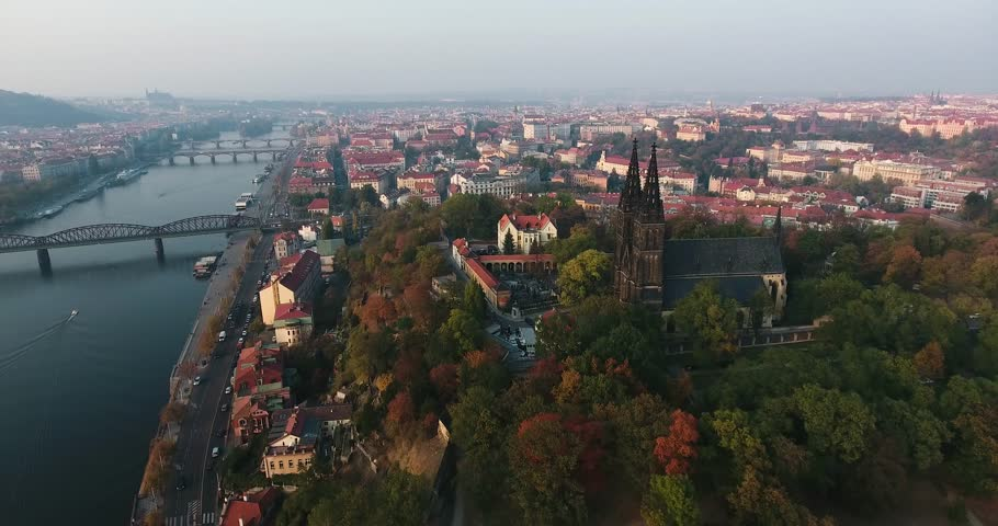 Prague Vysehrad and river Vltava drone aerial shot | Shutterstock HD Video #1018130911