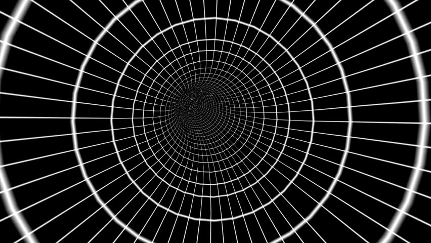 Mesmorizing Hypnotic White Rings Grid Lines On Black Background Wormhole Move