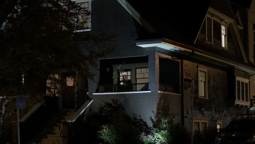 Night time urban house exterior | Shutterstock HD Video #1018134316