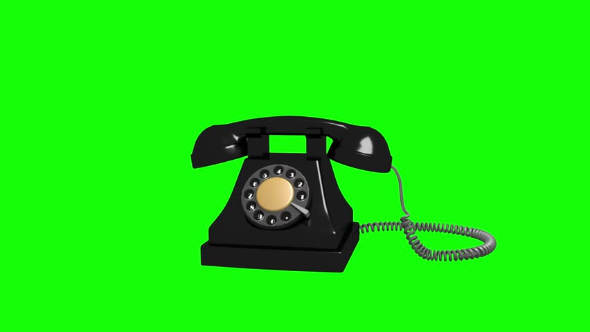 Animated 3D retro black phone spinning rotating 360 degrees around axis and ringing | Shiny black material on green key transparent background