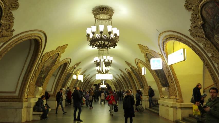 MOSCOW, RUSSIA - September 25: Interior of Moscow metro station Kievskaya. Soviet architecture, landmark of Russia. Steadicam shot