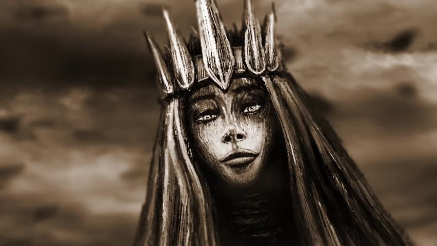 Dark queen with crown pulls bony hand. Crepy 2D animation in horror fantasy genre. Cute face turns into skull. Gloomy ghost in haze. Gothic cruel young woman with evil eyes. Spooky female character.  Royalty-Free Stock Footage #1018185955