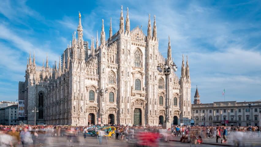 Milan city skyline sunset timelapse at Milano Duomo Cathedral, Milan, Italy Timelapse Hyperlapse of Milan Italy Cathedral on the Piazza del Duomo. Milano duomo. | Shutterstock HD Video #1018198213