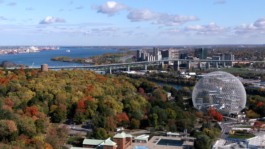 Montreal, Quebec, Canada, aerial view of Biosphere Environment Museum and Saint Lawrence River in the Fall season, daytime.