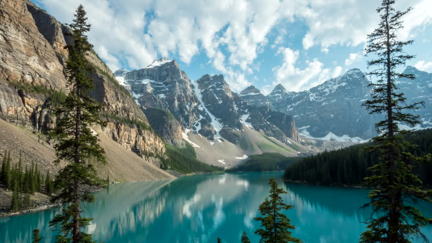 a zoom in afternoon time lapse of moraine lake at banff national park in canada
