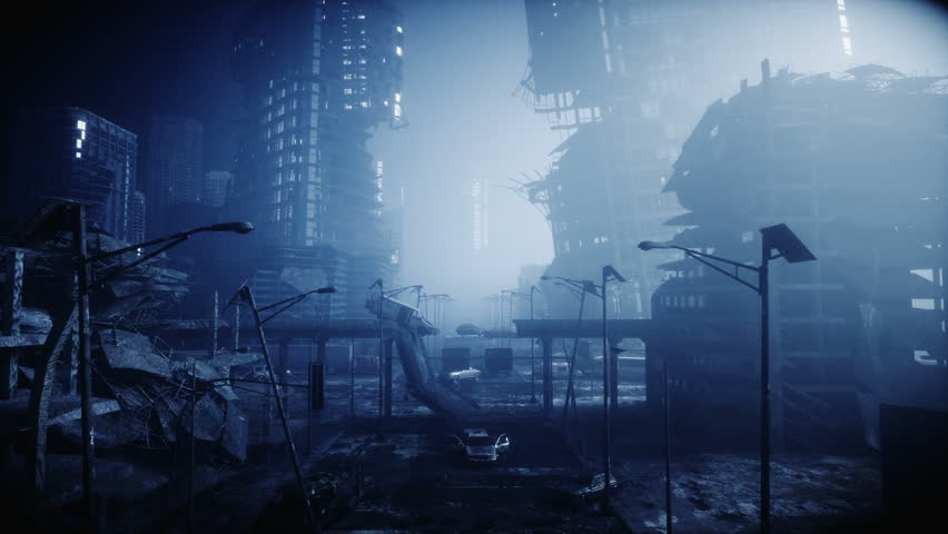 Apocalypse city in fog. Aerial View of the destroyed city. Apocalypse concept. Super realistic 4k animation. Royalty-Free Stock Footage #1018247860