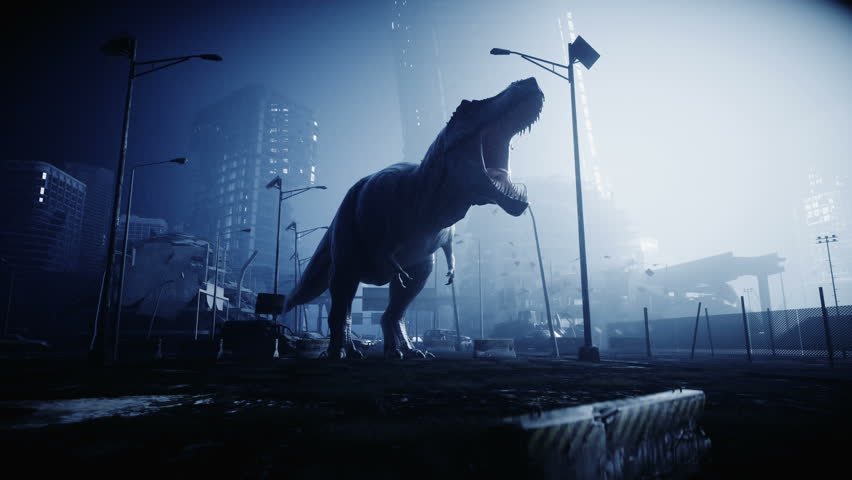 terrible dinosaur trex in the night destroyed city. Apocalypse concept. Realistic 4K animation. Royalty-Free Stock Footage #1018247953