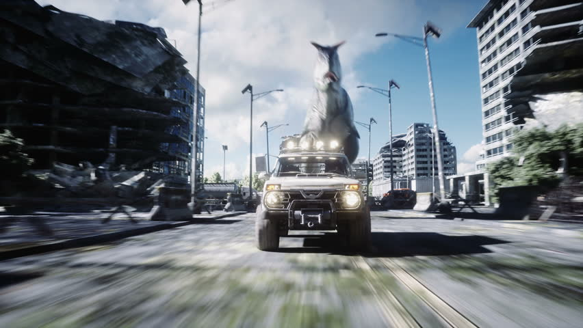 Dinosaur rex running behind the car in destroyed city. Dinosaurs apocalypse. Concept of future. Realistic 4K animation.