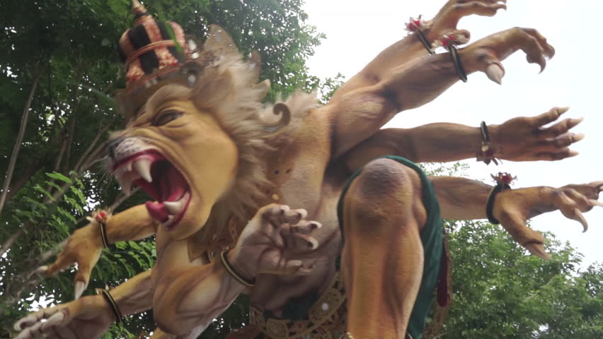 Ogoh Ogoh Bali Balinese Evil Demon Monster Giant Puppet Doll 15   Shutterstock HD Video #1018252633