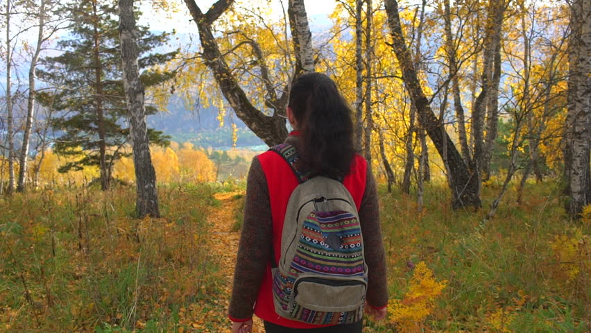 Woman tourist walking in the fall forest on sunny autumn day. Hiker traveler woman with backpack hikking on mountain at sunset. Enjoying vacation travel in beautiful landscape nature outdoors. slow | Shutterstock HD Video #1018284157