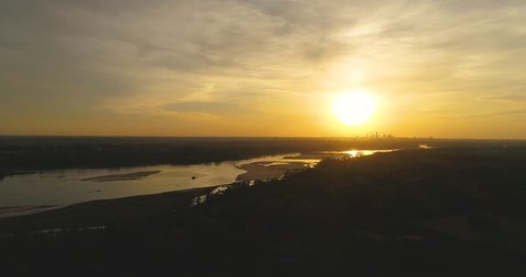 Aerial view of the panorama of Warsaw, Wis?a river, Poland