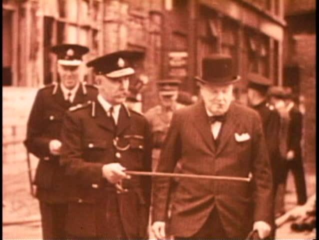 LONDON, ENGLAND, 1940, Battle of Britain, Churchill inspects damage, archival