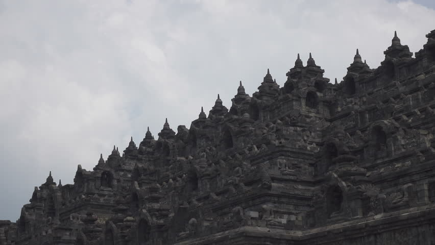Borobudur, or Barabudur is a 9th-century Mahayana Buddhist temple in Magelang, Central Java, Indonesia   Shutterstock HD Video #1018314637