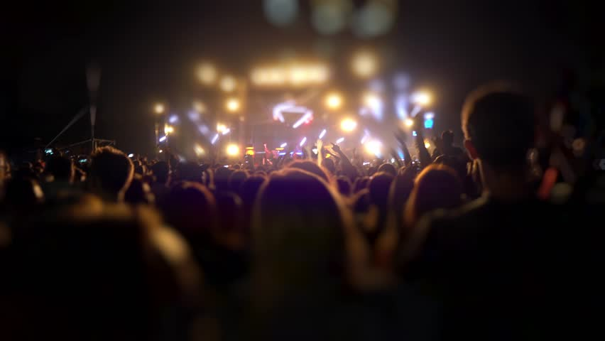Happy people are watching an amazing musical concert. Merry fans jump and raise their hands up. Crowd of excited fans applauding to popular band performing favorite song. A group of fans with phones #1018317022