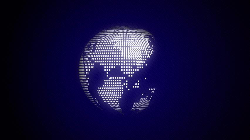 Spinning white dot globe with dark blue background   Shutterstock HD Video #1018328251