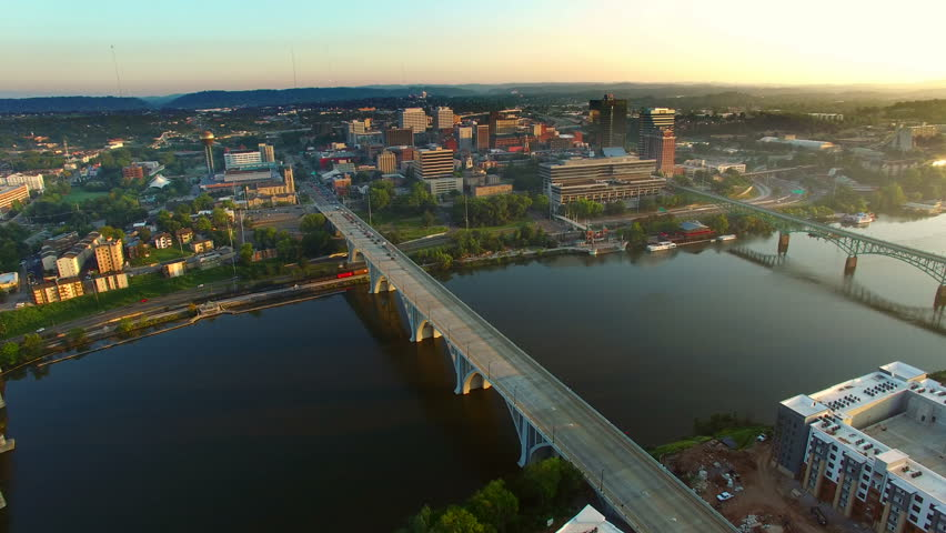 Beautiful shot of Knoxville during sunrise from above the city.