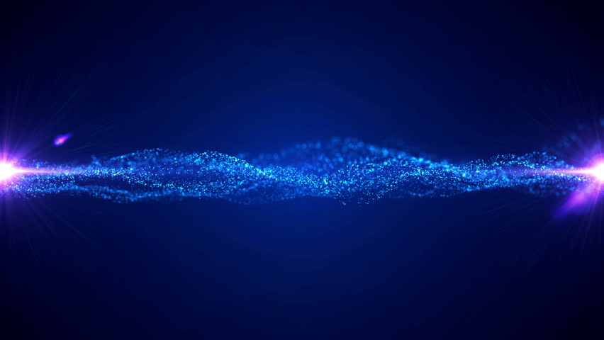Vector blue waves with light flare. Opening intro title animation rippling particles.   Shutterstock HD Video #1018371715